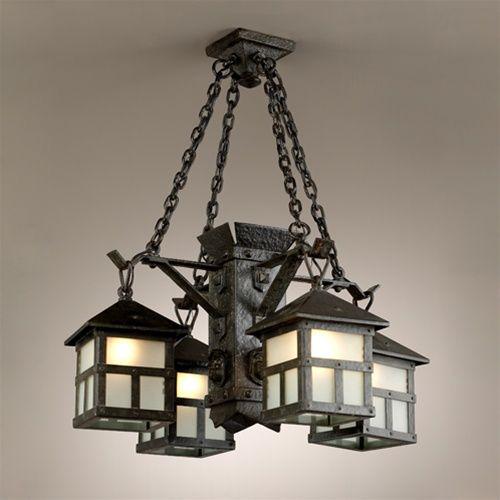 English arts crafts four iron lantern chandelier by brass light english arts crafts four iron lantern chandelier by brass light gallery milwaukee mozeypictures Images