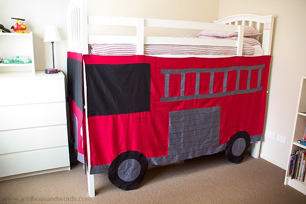 DIY Fire Engine Bunk Bed Tent by A Thousand Words & Letu0027s Hear It For the Boy | Bunk bed tent Fire engine and Bunk bed