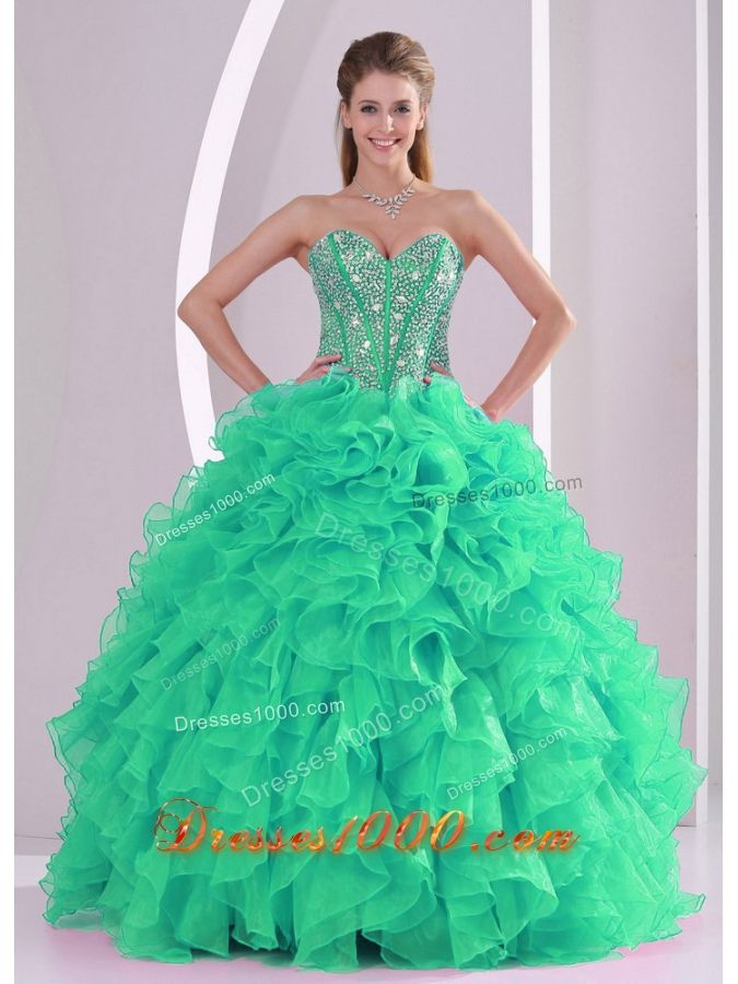e422e09ec8 Green Ball Gown Sweetheart Ruffles and Beading Long Quinceanera Gowns in Sweet  16 - US 228.89