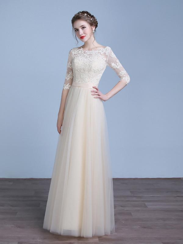 Champagne Lace Tulle Bridesmaid Dress With Sleeves Wedding Dresses Modest Wedding Dresses Modest Dresses
