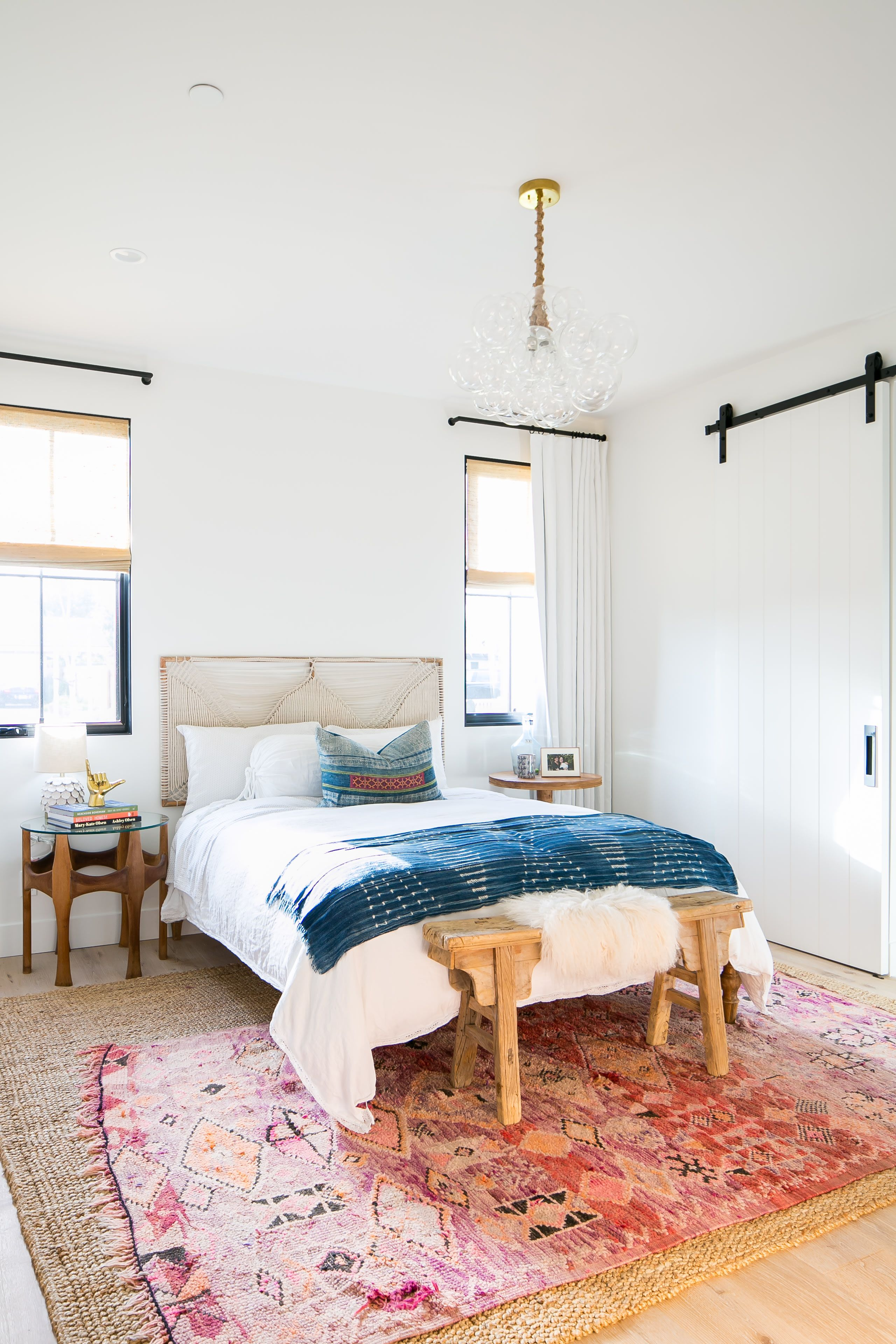 Whitewashed Modern Vintage Inspired California Home Tour Home Layered Rugs Bedroom Boho Bedroom