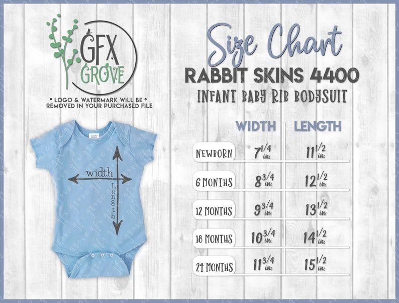 Rabbit Skins 4400 Infant Baby Rib Bodysuit Size Chart Rabbit Etsy In 2020 Baby Size Chart Baby Clothes Sizes Clothing Size Chart