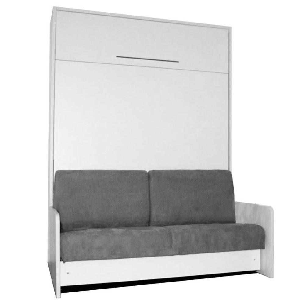 Space Sofa Fast Armoire Lit Escamotable 140 Cm Blanche Avec Canape Microfibre Grise Mebel