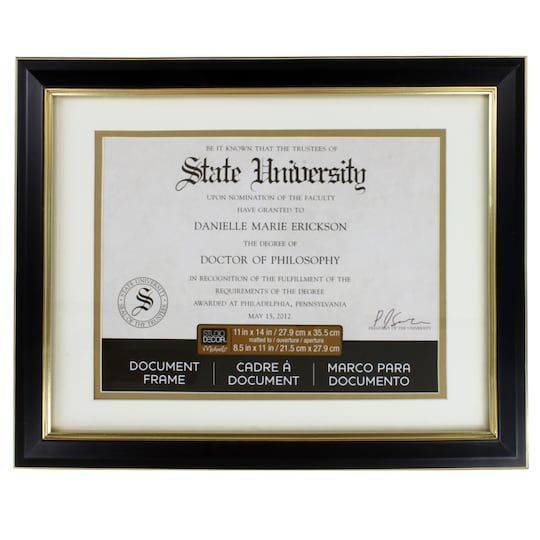 Black Gold 8 5 X 11 Document Frame With Mat By Studio Decor In 2020 Document Frame Studio Decor Diploma Display
