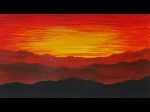 Easy Acrylic Painting Of A Sunset And Mountains Time Lapse