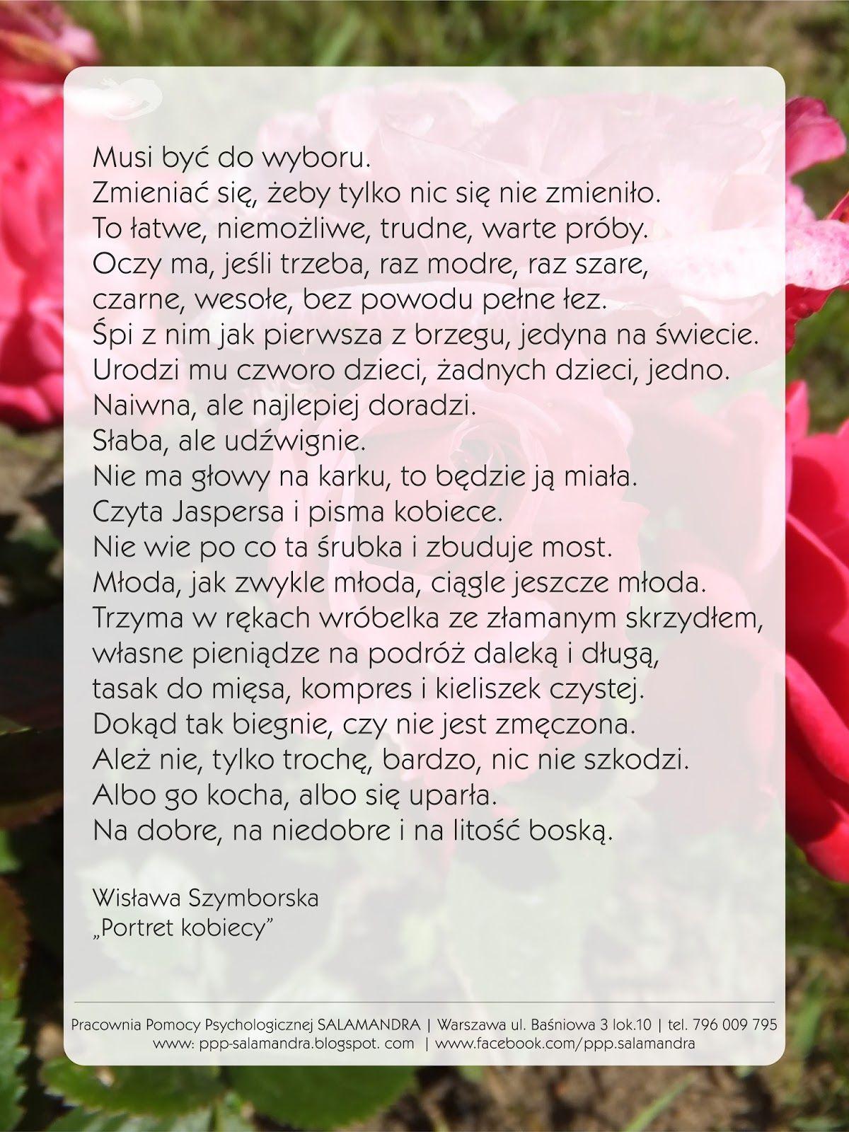 Wisława Szymborska Wiersz Na Dzień Kobiet 2018