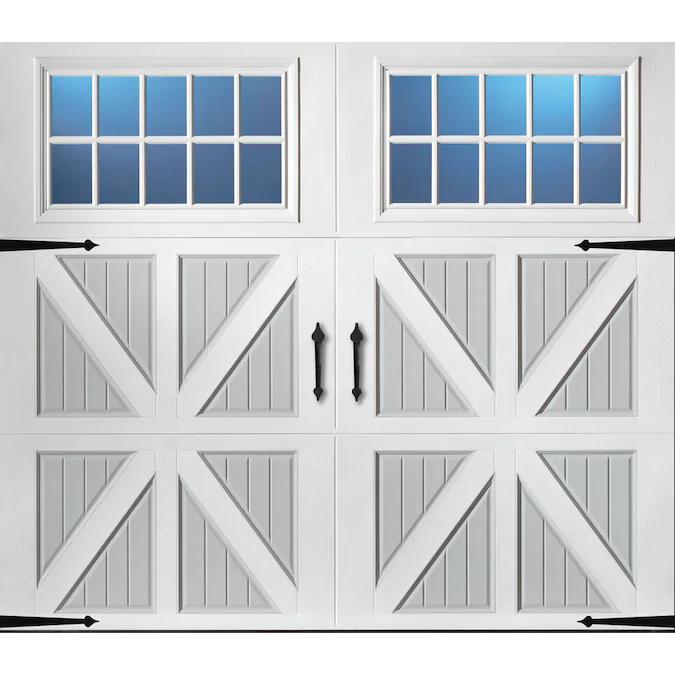 Pella 108 In X 84 In Insulated True White Gray Single Garage Door With Windows Lowes Com In 2020 Garage Door Styles Garage Doors Single Patio Door