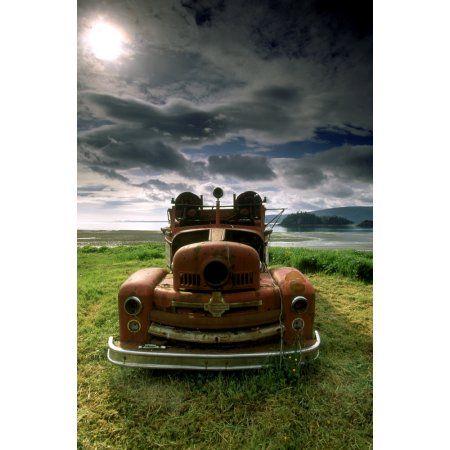 old fire truck queen charlotte islands british columbia canada