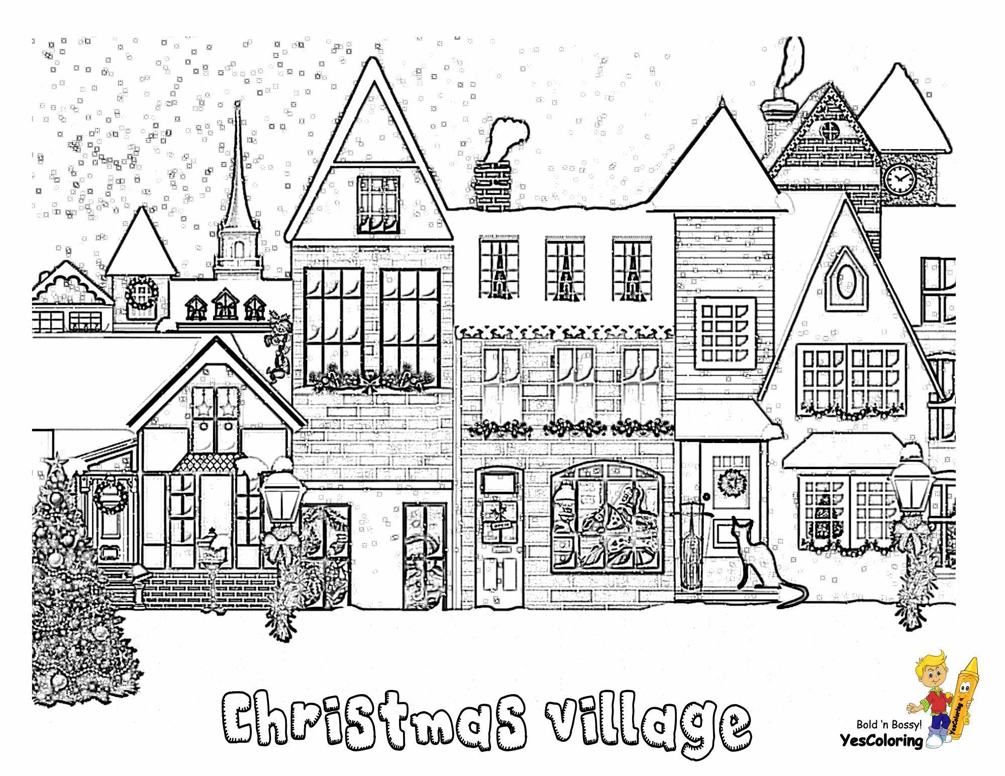 Print Out This Christmas Village Coloring Page Wow Tell Other Coloring Christmas Tree Coloring Page Christmas Coloring Pages Free Christmas Coloring Pages
