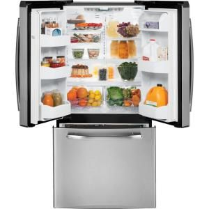 GE 33 in. W 22.7 cu. ft. French Door Refrigerator in Slate GNS23GMHES at The Home Depot - Mobile