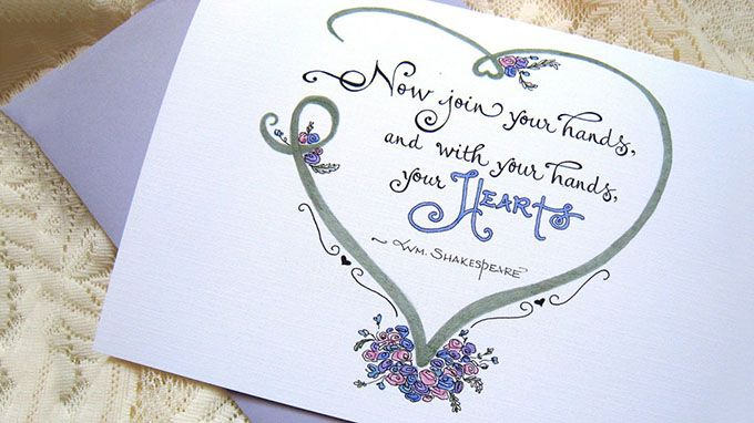 Now join your hands and with your hands your hearts w wedding day card card for bride and groom wedding quote shakespeare now join your hands m4hsunfo