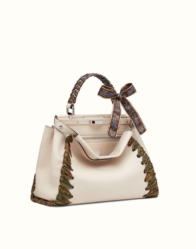 FENDI PEEKABOO - white leather handbag  84f3b4996adb0