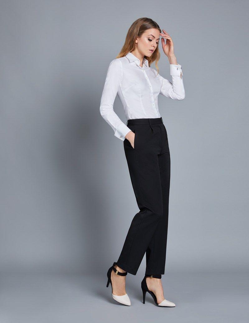 Women S Black Twill Pants Women White Blouse White Shirts Women Western Wear Outfits [ 1040 x 800 Pixel ]