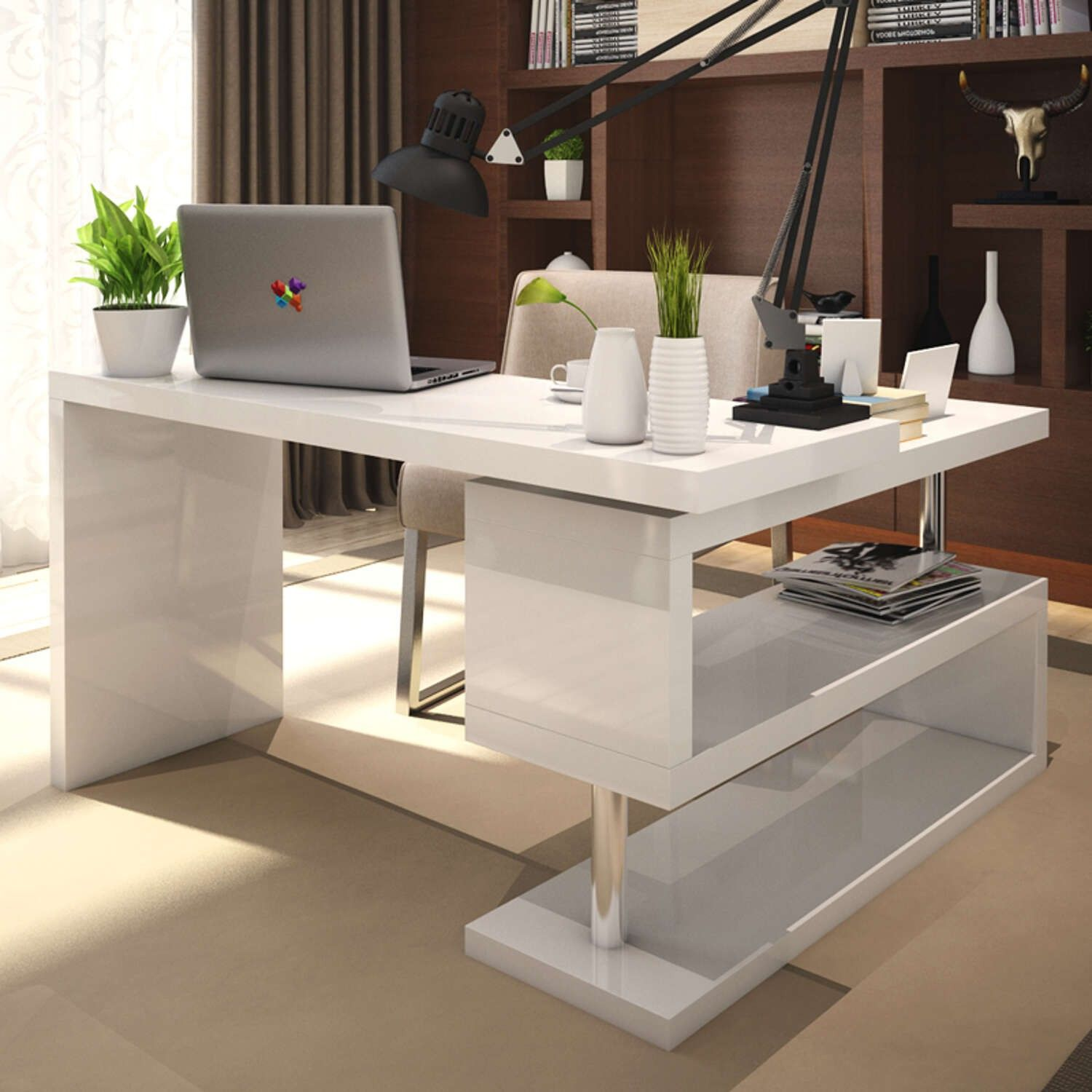 Wonderful White High Gloss Office Desk   Real Wood Home Office Furniture Check More  At Http: