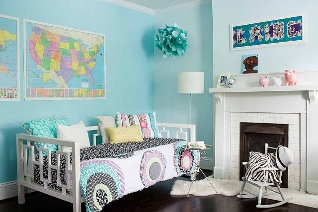Kinderzimmer Jugendzimmer Wandfarbe Hellblau Aqua