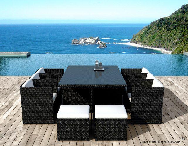 Ce #salon de jardin 10 fauteuils encastrables noir sublimera votre ...