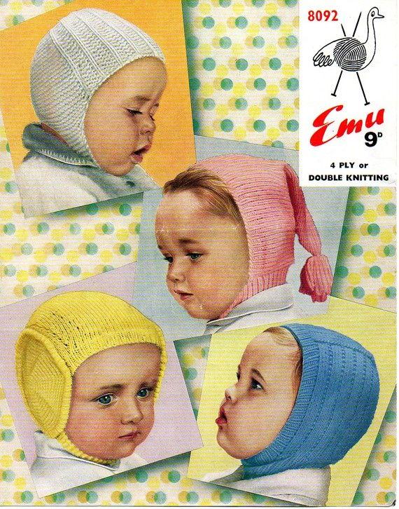 4 Vintage Baby Helmet Pompon Cap Knitting Pattern Pdf Babycakes