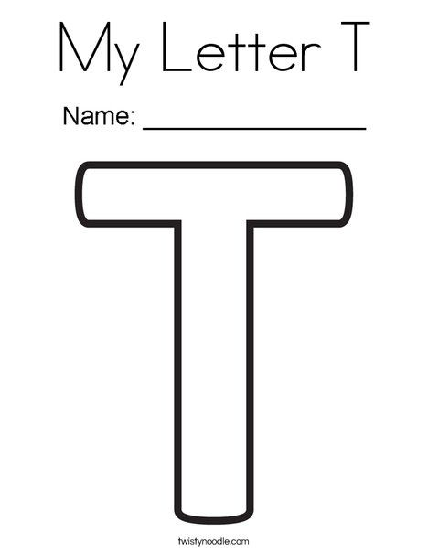 My Letter T Coloring Page Twisty Noodle Lettering Letter T