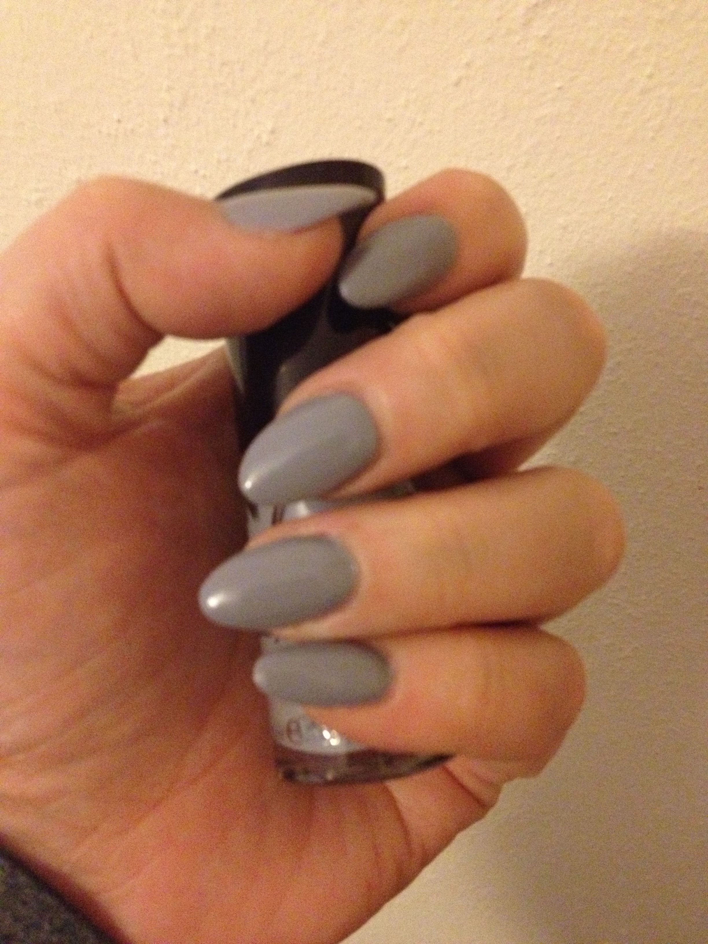 Almond nails grey manicure no7...oh yes … | nails | …