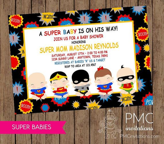 Superhero Baby Shower Invitations 1.00 Each By PaperMonkeyCompany, $1.00