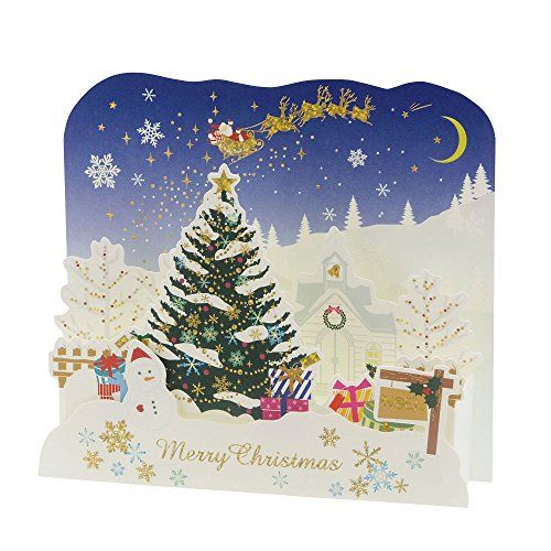 Winterly Christmas Village Pop Up Greeting Card