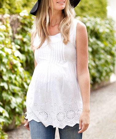 5739fcaceda24 Love this White Lace Pretty Maternity Sleeveless Top on #zulily!  #zulilyfinds