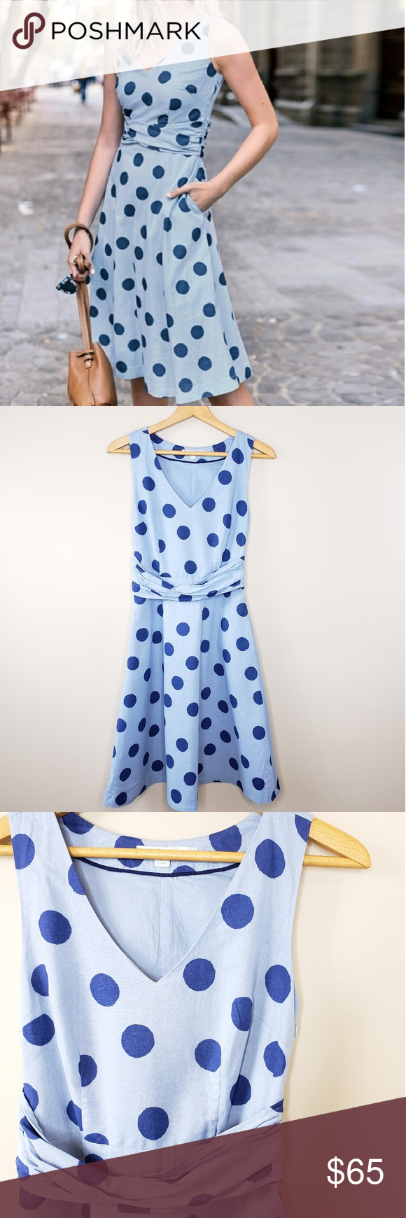 49b71e5a3ef Boden | Lois Scattered Polka Dot Dress Boden | Lois Scattered Polka Dot  Dress. Size US 6. Light blue A-line dress with navy blue polka dot print.