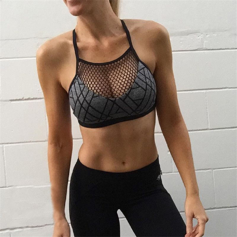 9de2a2a502f05 Sexy Backless Off Shoulder Gym Strap Strappy Bralette Seamless Sports Bra
