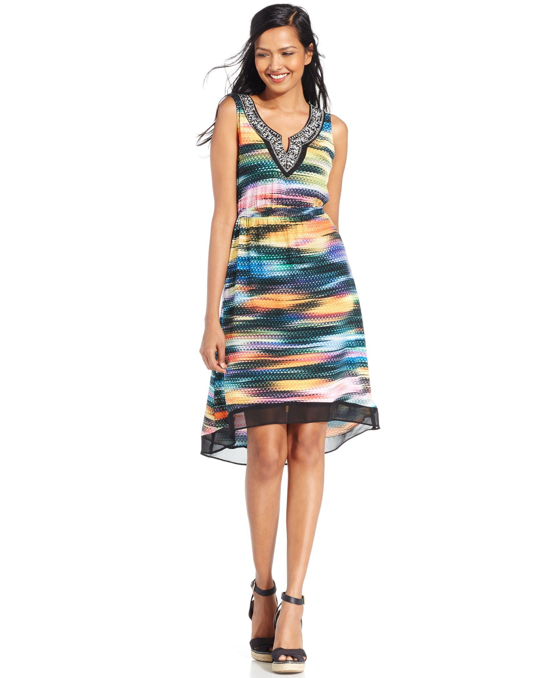 Ny collection petite embellished sheerhem sleeveless dress