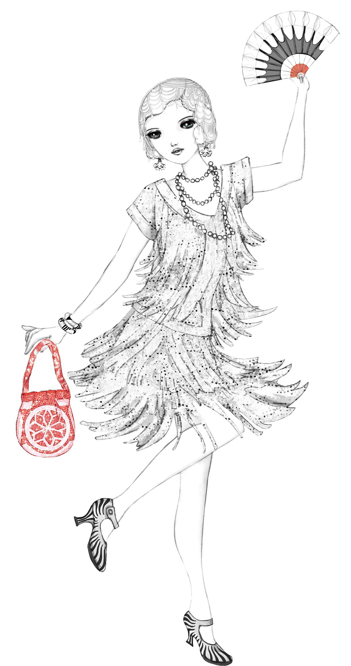 From Usborne Download A Colouring Sheet From 1920s Fashion And Complete The Fun Flapper Dress Ready For An Evening At A Jazz Club Mode
