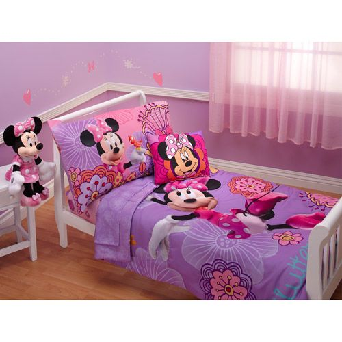 Disney  Minnie Mouse Fluttery Friends 4Piece Toddler Bedding Set Glamorous Toddler Bedroom Set Inspiration Design
