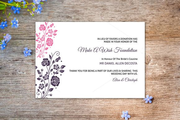 Wedding Favor Donation Card Template | Card templates and Template