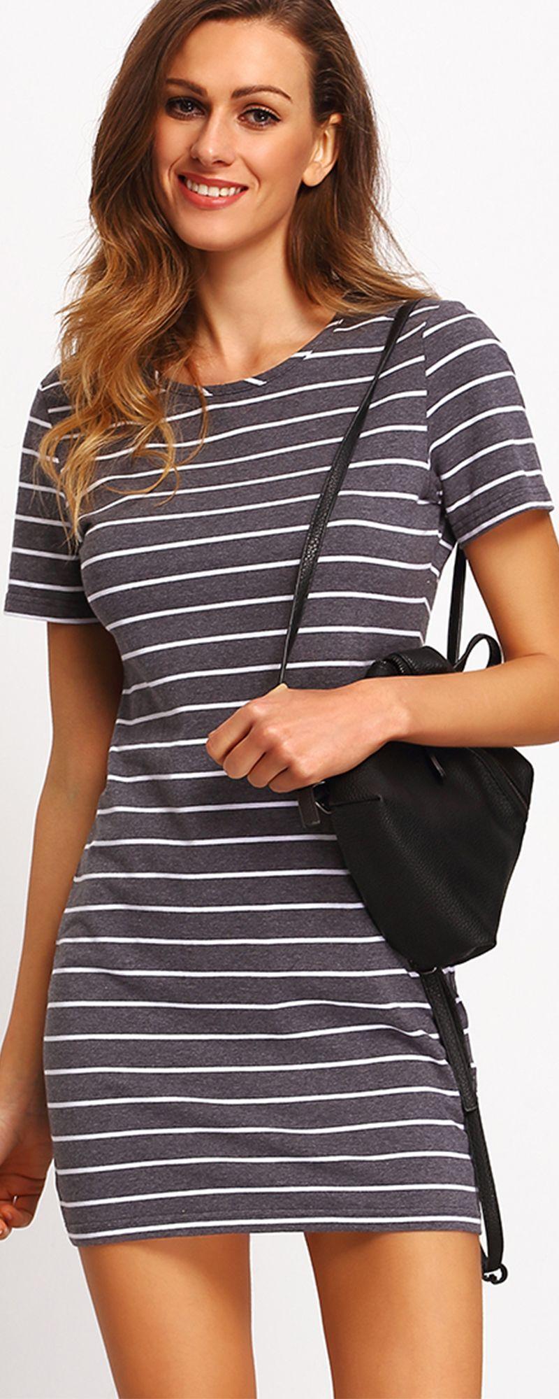 Grey white stripe casual tshirt dress spotlights pinterest