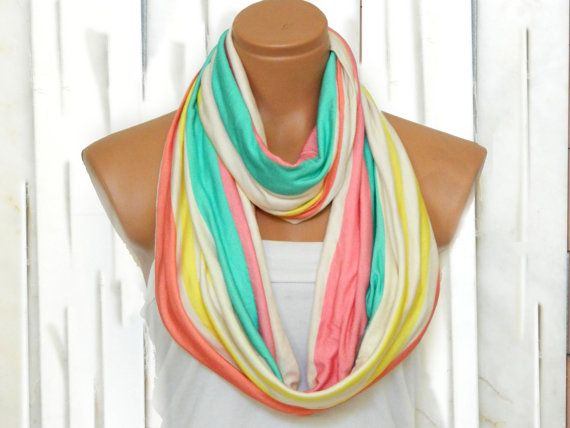 Infinity Scarf Rainbow Striped Multicolor Scarf by EmofoFashion, $23.00
