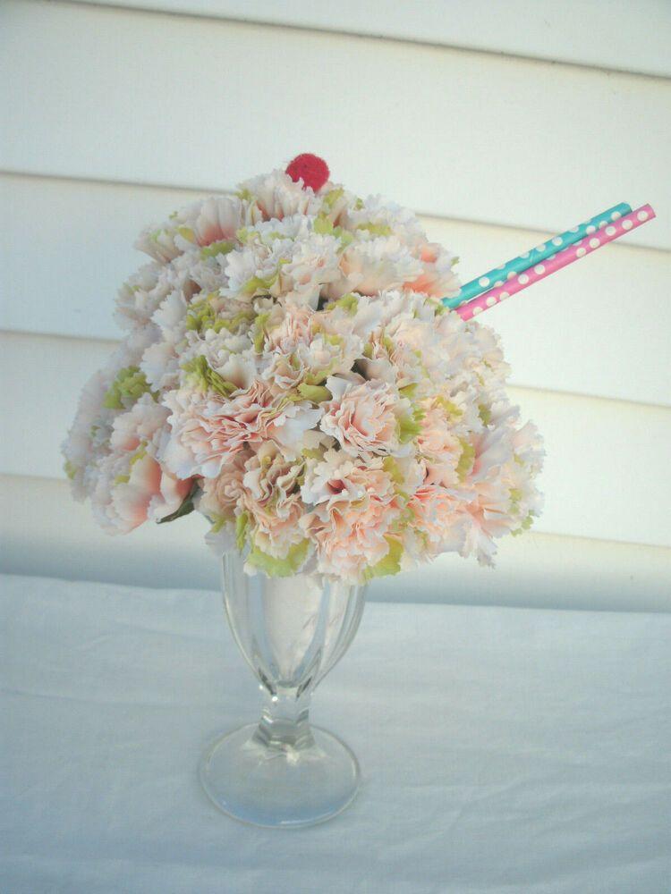 Centerpiece 1950 S Lt Pink Carnation Ice Cream Sundae In Sundae Glass Unbranded Pink Carnations Ice Cream Sundae Sundae