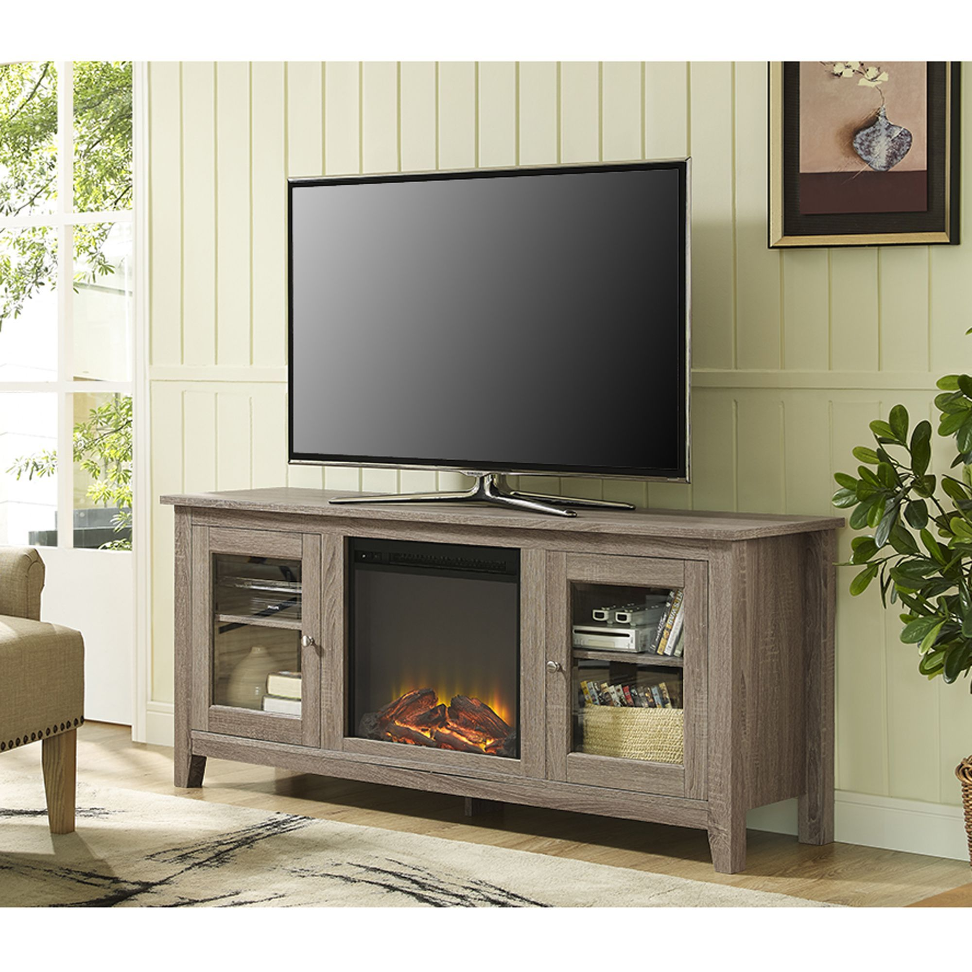 Inch driftwood fireplace tv stand with doors fireplace stand