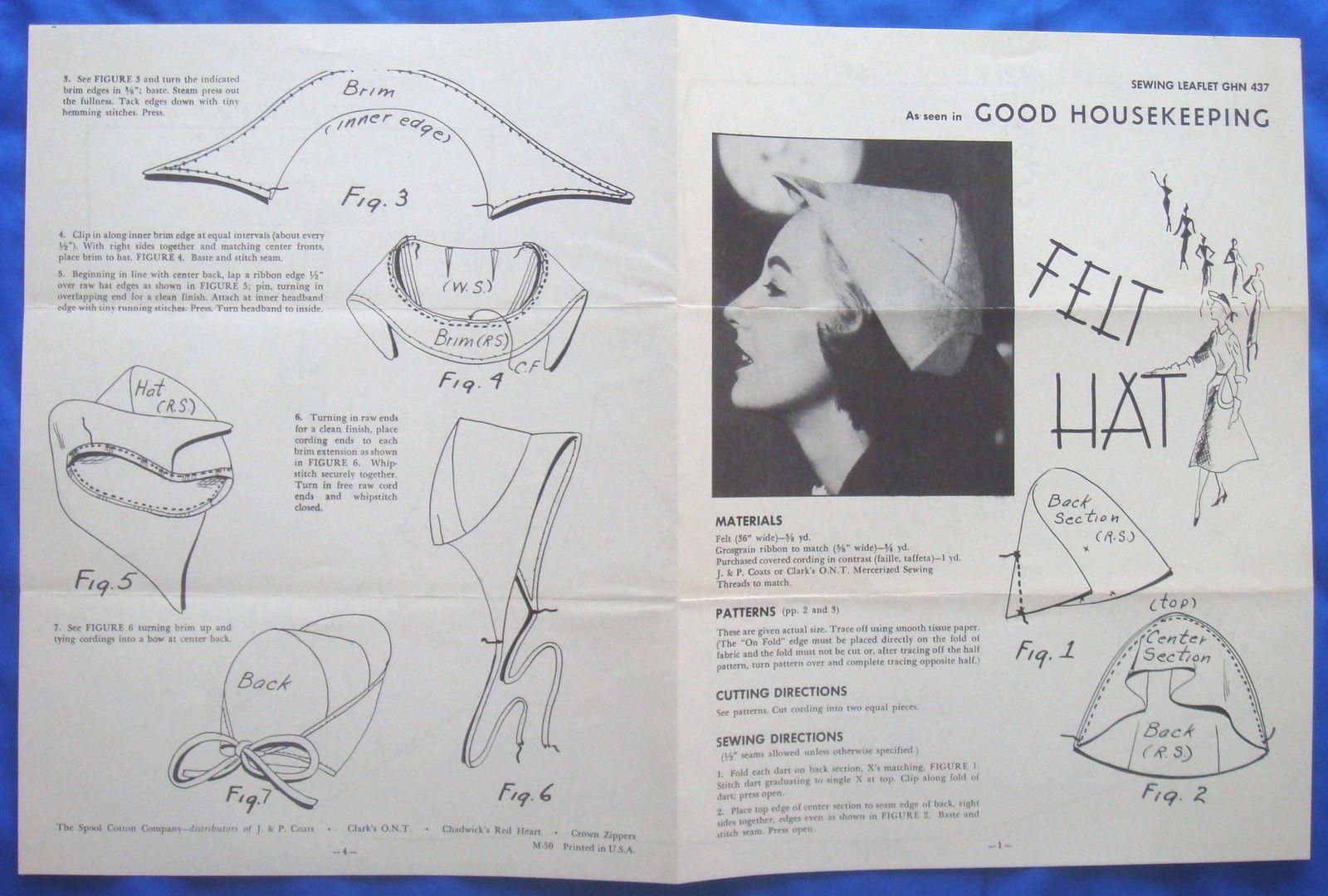 vintage Good Housekeeping FELT HAT millinery accessory sewing ...