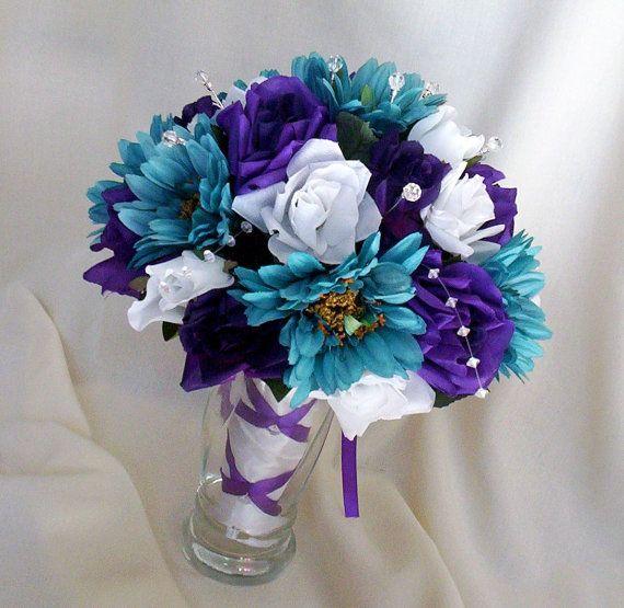 Teal Wedding Flowers Ideas: Teal Bridal Accessories Wedding Bouquet Purple By