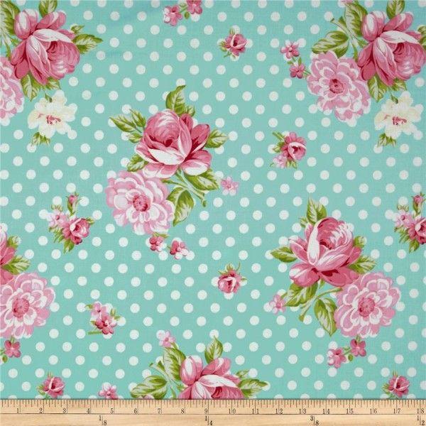 Tissu Rosey Roses and Mums Teal : vente Tissu - CREATEURS ...