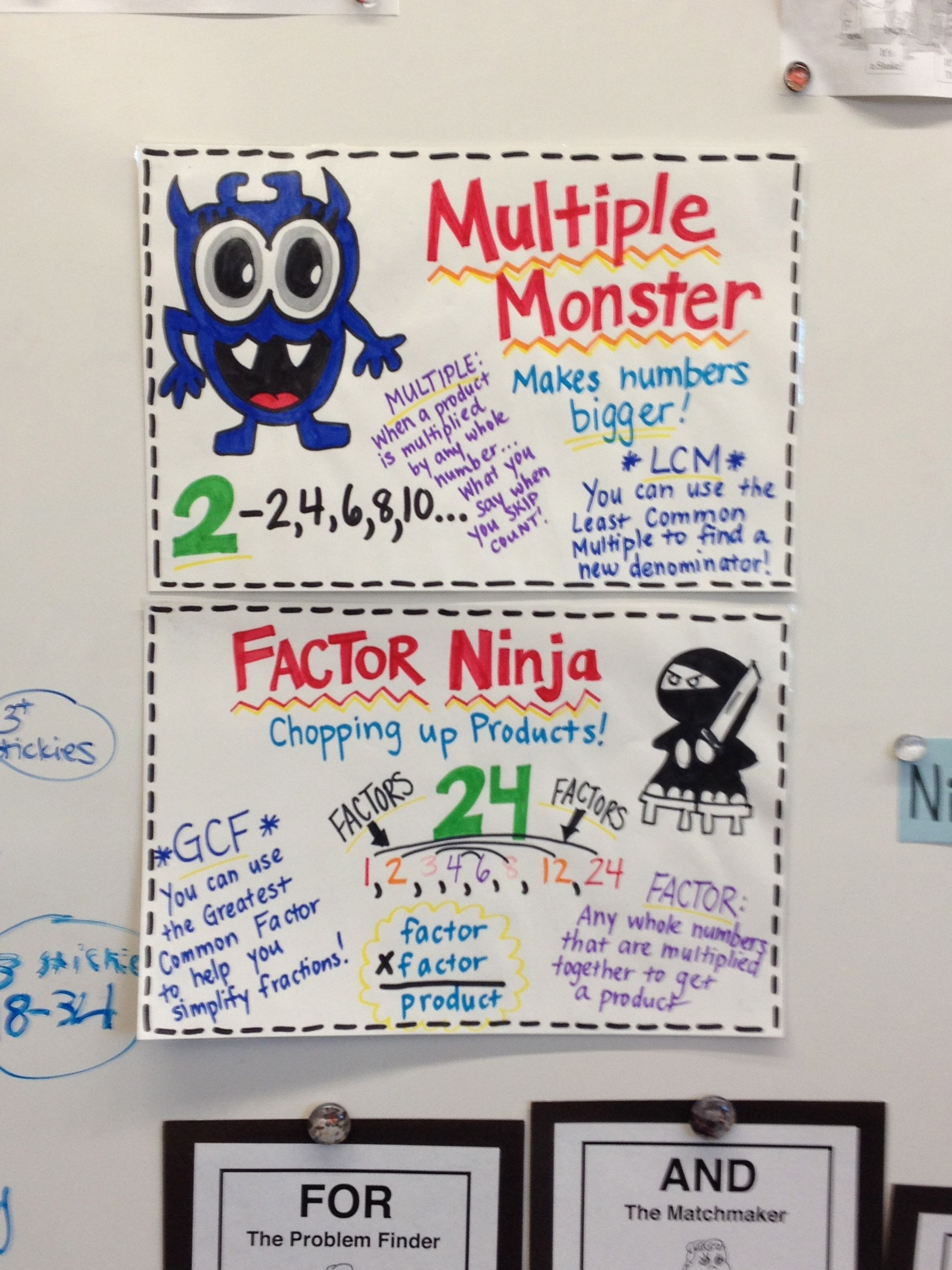 Multiple Monster And Factor Ninja Third Grade Math Math Lessons Factors And Multiples [ 3264 x 2448 Pixel ]