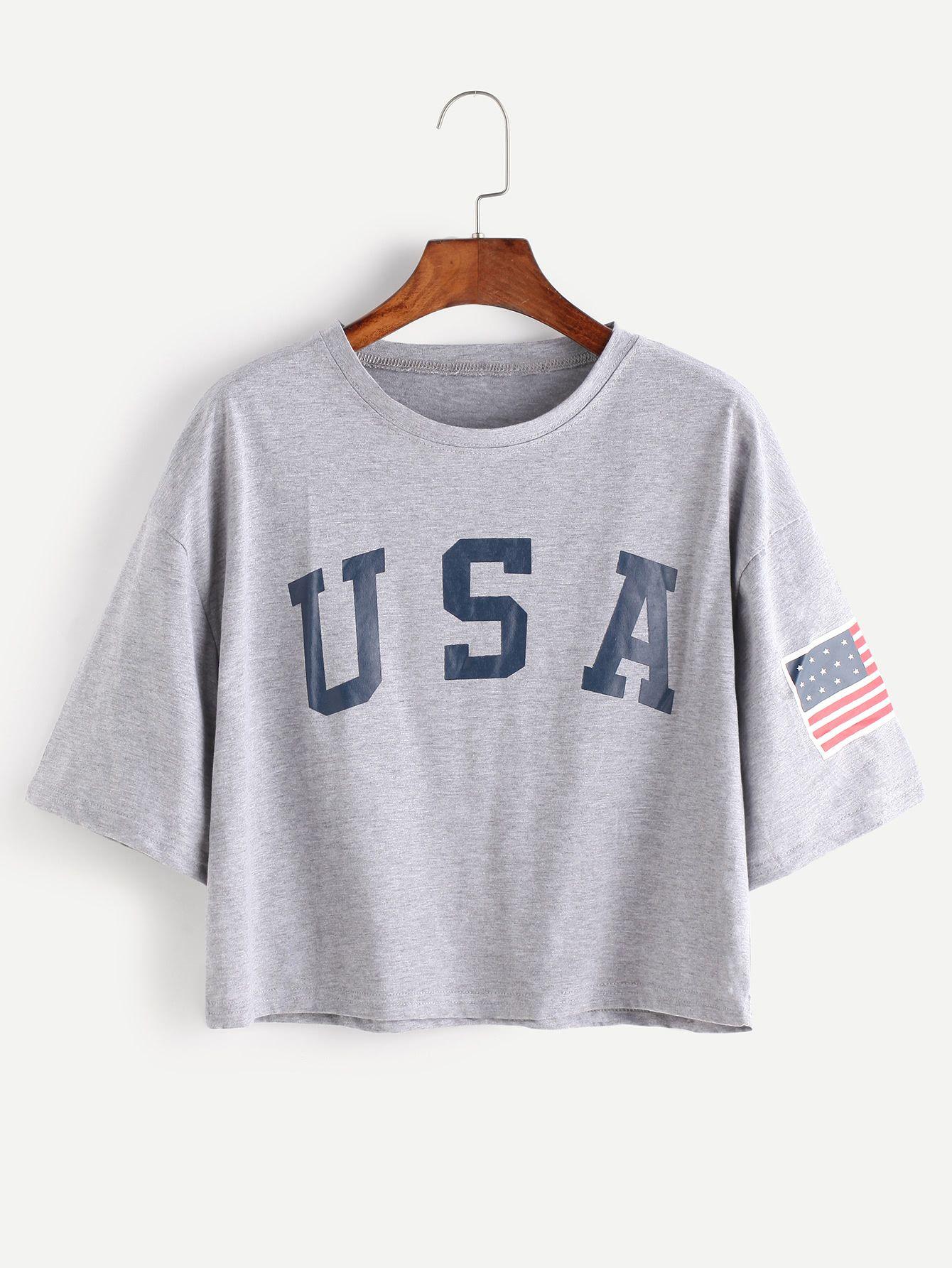 433e50eff7 American Flag Letter Print Drop Shoulder Tee -SheIn(Sheinside) Fashion  Dresses, Trendy