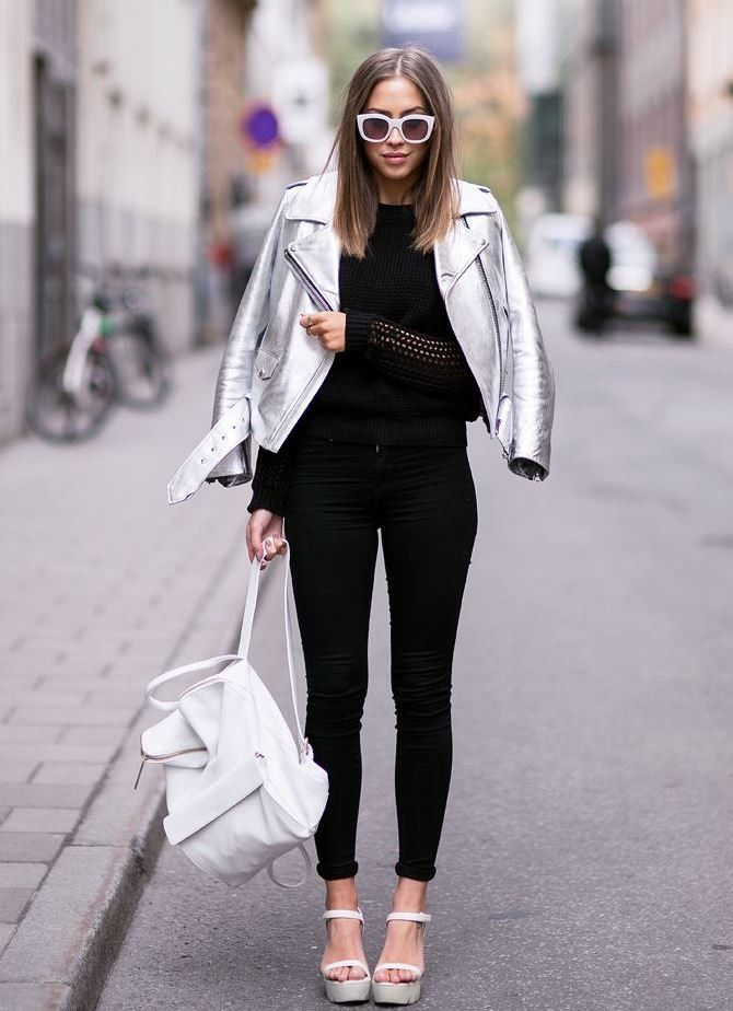 Gorgeous Outfit Idea To Copy Biker Jacket Top White Backpack Skinnies Heels Silver Jacket Outfit Metallic Jacket Silver Leather Jacket