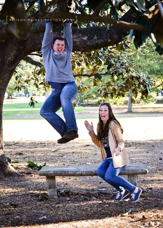 Love this one! Super goofy and shows our personality! #crazy #fun #engagement #pictures #love #sweetheartcircle #therealGSU #GATA #georgiasouthernuniversity