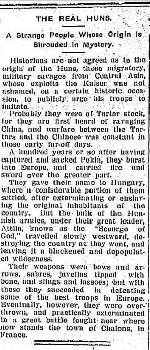 "WWI, 5 Jan 1917, Lancefield Mercury: ""The Real Huns"""