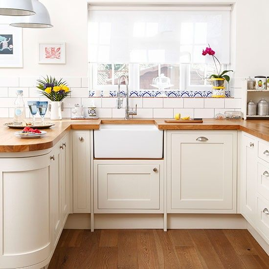 White Kitchen Units With Oak Worktop: Curved Corner End / White And Oak Worktop Kitchen