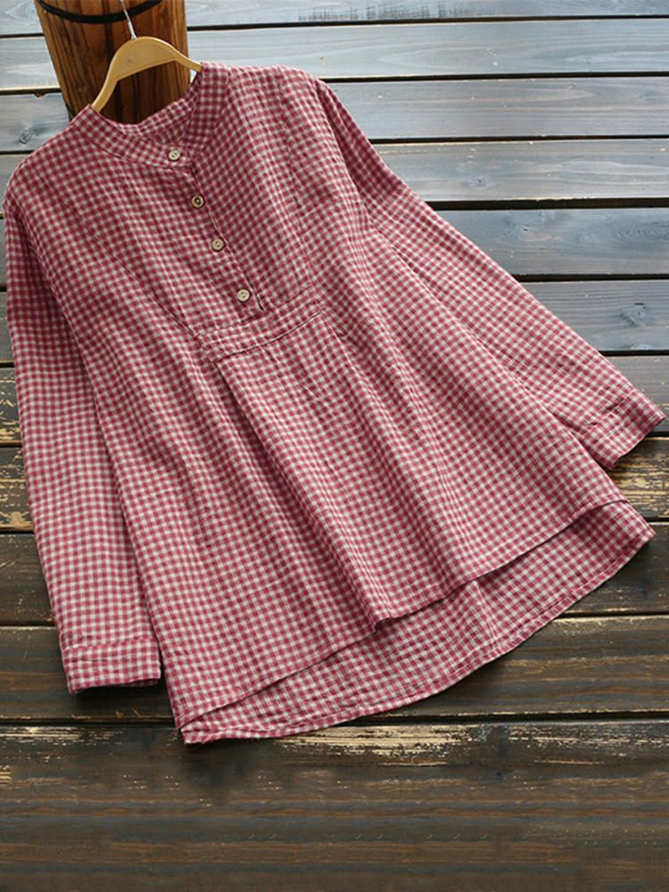 9a8084adb5a166 Women Long Sleeve Plaid Buttons Stand Collar Vintage Blouse ...