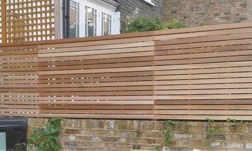 Western Red Cedar slatted panels Back garden Pinterest Garden