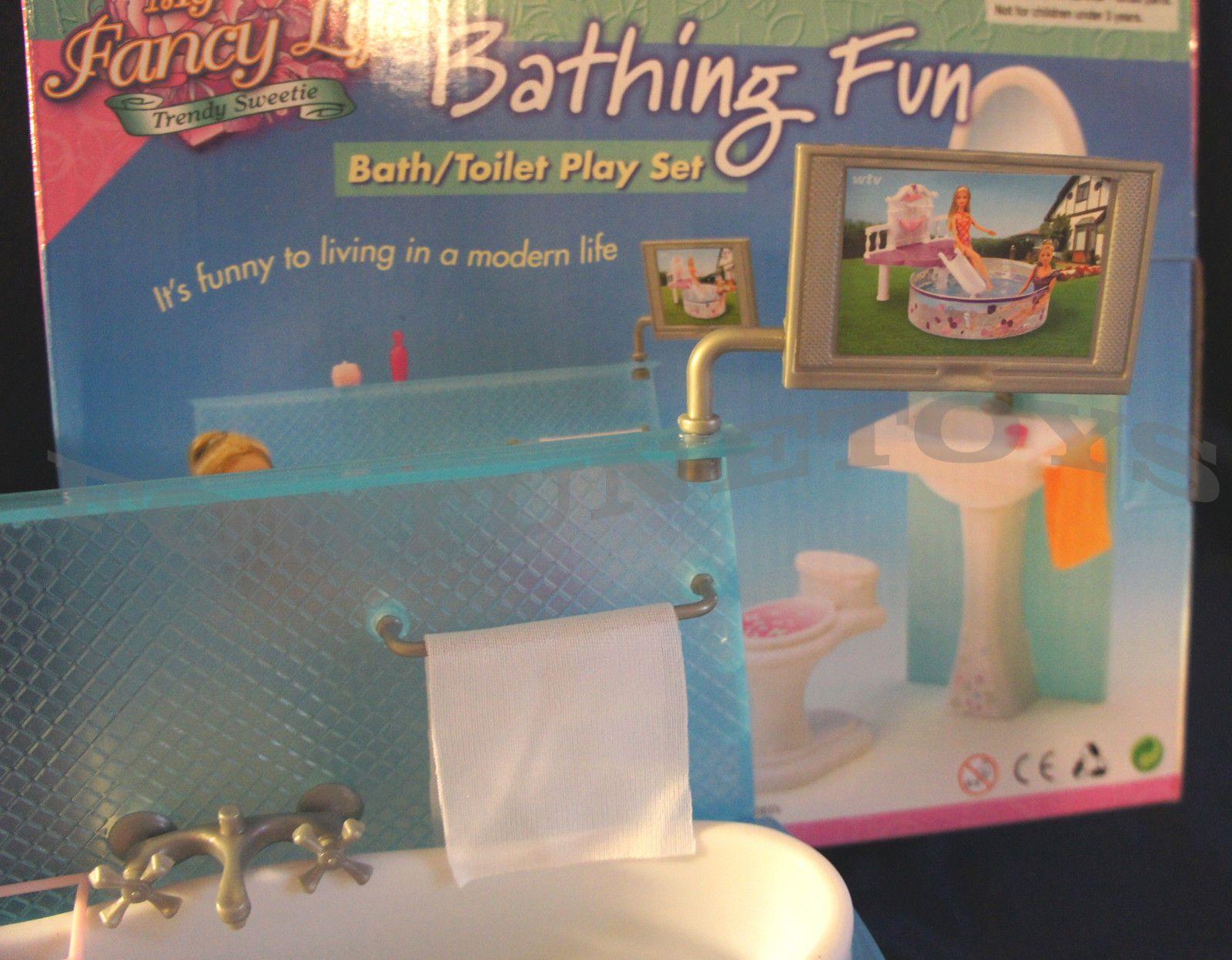 My Fancy Life Barbie Size Dollhouse Furniture Bathing Fun Bath//Toilet Play Set