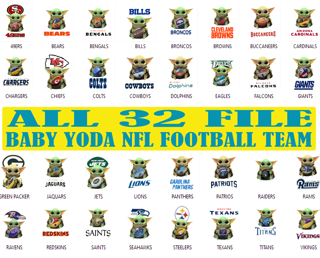 Baby Yoda Star Wars 32 Nfl Football Teams Baby Yoda Star Wars Png Baby Yoda Png Nfl Football Files For Silhouette Instant Download Star Wars Yoda Yoda Star Wars Memes
