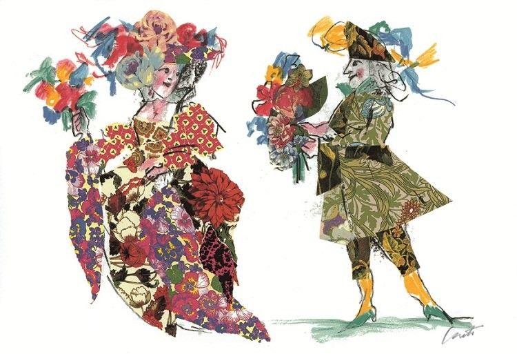EMANUELE LUZZATI Costumi Floreali Illustrazioni, Arte